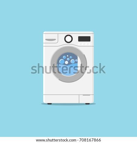 Washing machine flat design style. Vector illustration