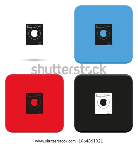 Washing machine flat vector icon.
