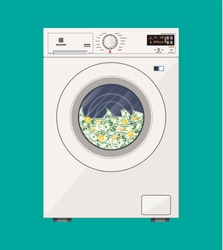 Washing machine full of dollars banknotes. Laundering of money in washer. Dirty money. Hidden wages, salaries black payments, tax evasion, bribe. Anti corruption. Vector illustration in flat style