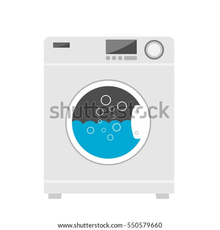 Washing machine in flat style vector.