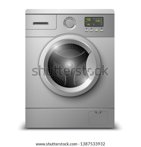 Washing machine isolated on white background. Modern, realistic vector illustration of home appliances.