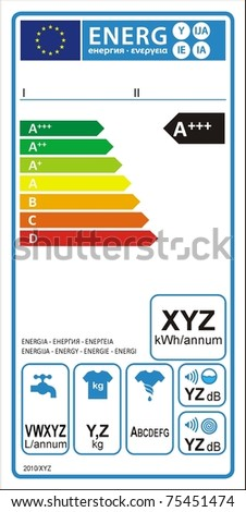 Washing machine new energy rating graph label in vector.