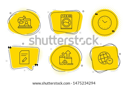 Washing machine, Seo devices and Time zone signs. Chat bubbles. Edit document, Online chemistry and Time line icons set. Page with pencil, Lab flask, Clock. Laundry service. Technology set. Vector