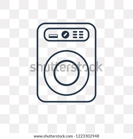 Washing machine vector outline icon isolated on transparent background, high quality linear Washing machine transparency concept can be used web and mobile #1223302948