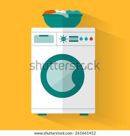 Washing machine with basket. Flat style vector illustration.