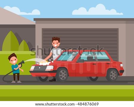 washing of car outdoors father