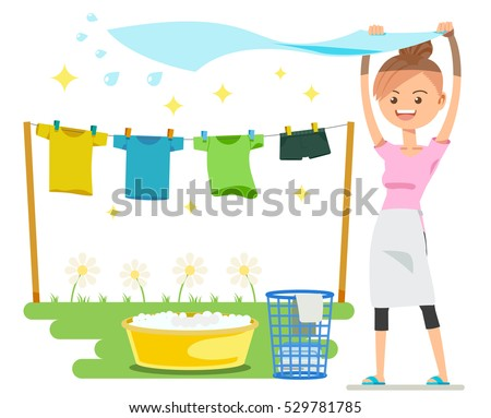Shutterstock Washing on a sunny day. Holiday activities. The basic housework.