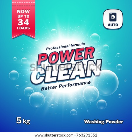 Washing powder. Detergent packaging vector design template. Illustration of detergen pack powder product