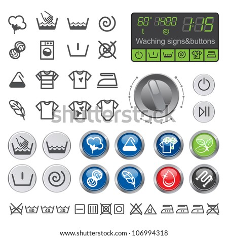 Washing sighs and buttons. Vector icons set of drying, bleaching and ironing instruction.
