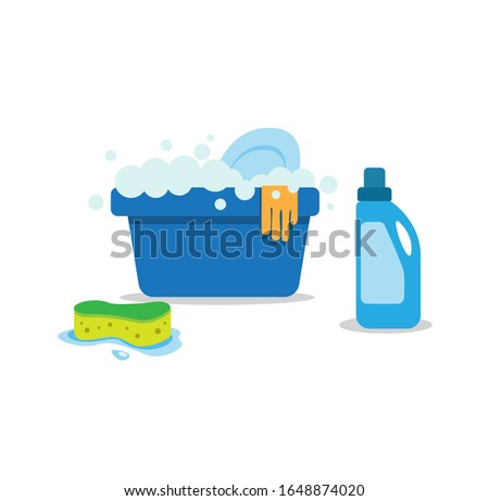 Washing tub filled soap with latex glove, sponge and detergent. for housework and cleaning service symbol in cartoon flat illustration vector isolated in white background