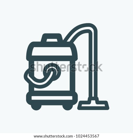Washing vacuum cleaner vector icon