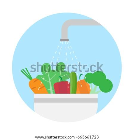 washing vegetables.clean food.vector illustration
