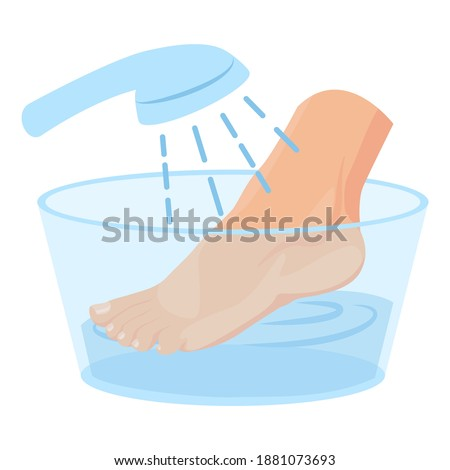 Washing women's feet. Feet in a basin of water. Cartoon style, the concept of cosmetic procedures for the feet. Stock photo ©