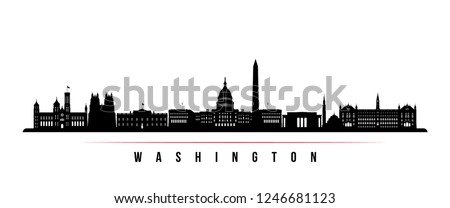 Washington city skyline horizontal banner. Black and white silhouette of Washington. Vector template for your design.