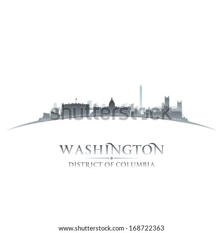 Washington DC city skyline silhouette. Vector illustration