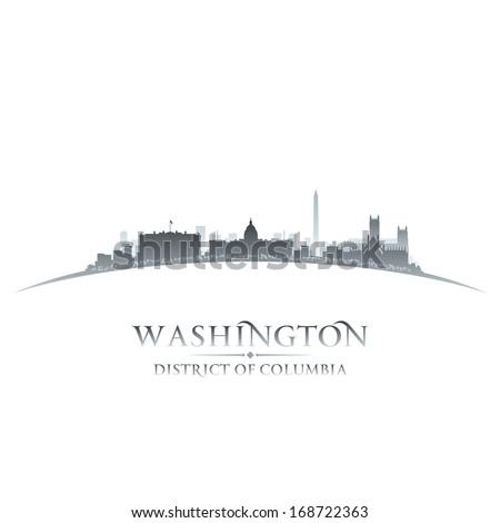 Washington DC city skyline silhouette. Vector illustration