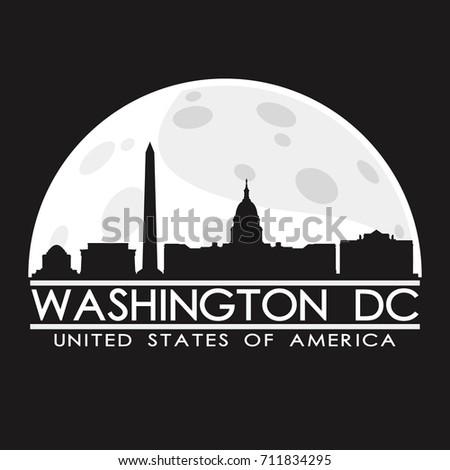 Washington DC Full Moon Night Skyline Silhouette Design City Vector Art