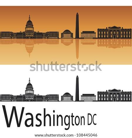 Washington DC skyline in orange background in editable vector file