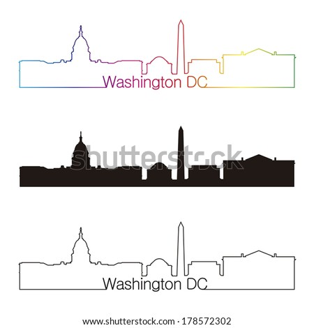 Washington DC skyline linear style with rainbow in editable vector file