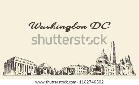 Washington DC skyline, USA, hand drawn vector illustration, sketch