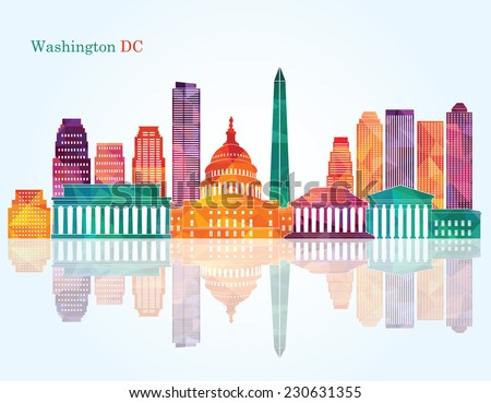 Washington Dc skyline. Vector illustration