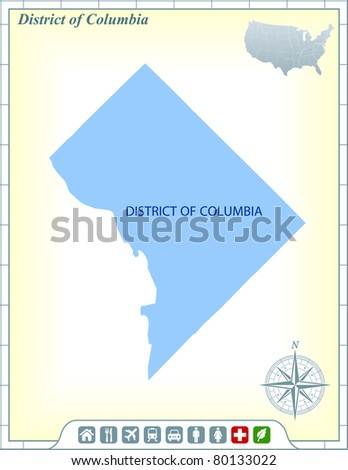 Washington DC State Map with Community Assistance and Activates Icons Original Illustration