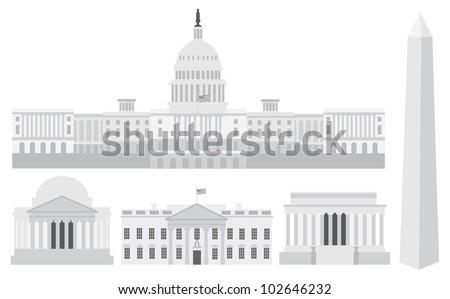 Washington DC US Capitol Building Monument Jefferson and Lincoln Memorial Illustration