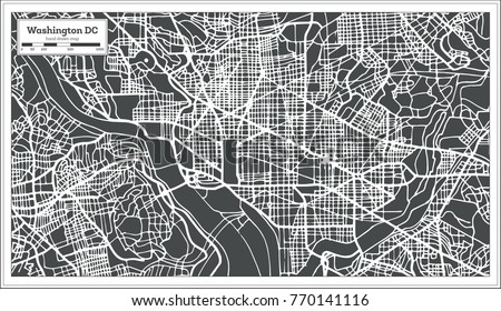 Washington DC USA Map in Retro Style. Vector Illustration. Outline Map.