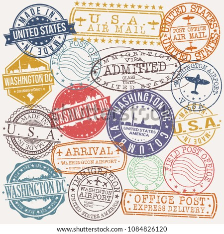 Washington DC USA Stamp Vector Art Postal Passport Travel Design Set Badge.