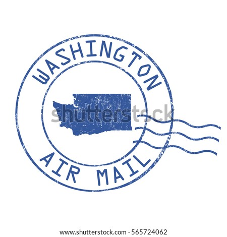 Washington post office, air mail, grunge rubber stamp on white background, vector illustration