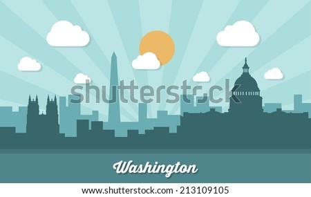 Washington skyline - flat design - vector illustration
