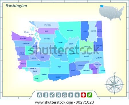 washington state map with