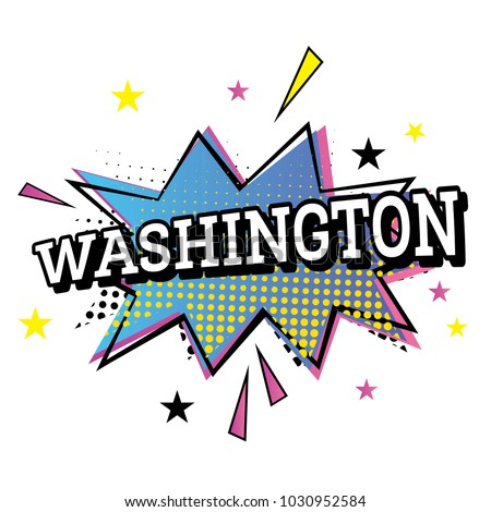 washington usa comic text in