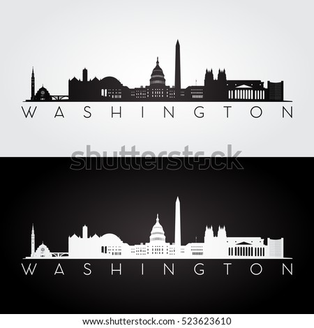 Washington USA skyline and landmarks silhouette, black and white design, vector illustration.
