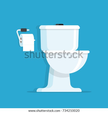 Washroom, Toilet bowl with toilet paper roll. vector illustration isolated on blue background.