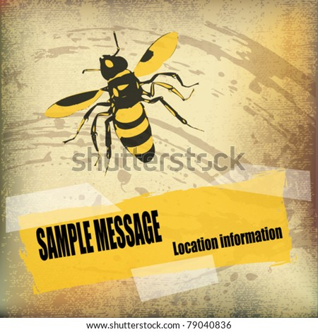 Wasp Background vector flyer over a parchment texture