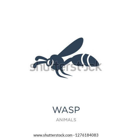 wasp icon vector on white background, wasp trendy filled icons from Animals  collection, wasp vector illustration