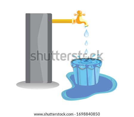 Wastage of water theme. Wastage of water from running tap as bucket is overflow with the water. Wastage of water drop from overflowing bucket and spreading on the floor. Foto stock ©