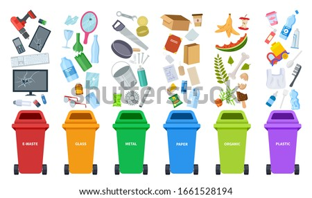 Waste bins. Flat recycling containers, bin sorting trashes. Recyclable glass paper plastic. Types baskets and garbage vector illustration