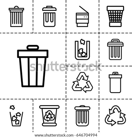 waste icon set of 13 outline