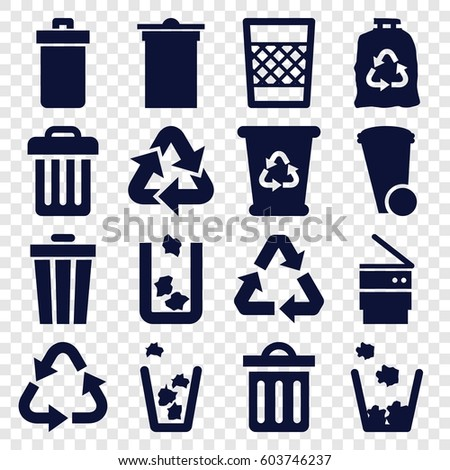 Waste icons set. set of 16 waste filled icons such as trash bin, recycle bin, recycle, trash bag