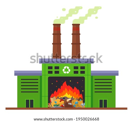 waste incineration plant and emission of harmful substances into the atmosphere. flat vector illustration isolated on white background. Stock photo ©