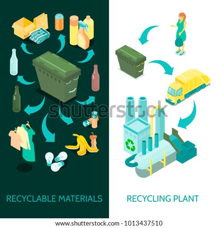 Waste material collection sorting and converting recycling  plant facility 2 vertical isometric banners set isolated vector illustration