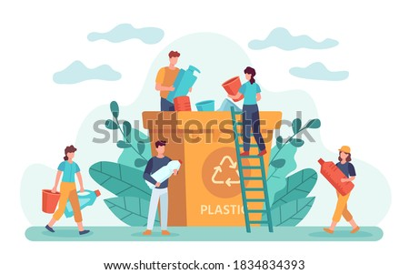 Waste recycle. Eco-friendly people throw out trash in recycling bin. Ecology lifestyle, plastic garbage and zero waste vector. Illustration waste garbage, trash recycling, recycle rubbish and sorting Сток-фото ©