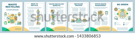 Waste recycling cover design brochure template layout. Environment care. Flyer, booklet, leaflet print design with linear illustrations. Vector page layouts for annual reports, advertising posters