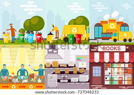 Waste recycling garbage process factory truck brought processing industry processed manufacturing production vector illustration.