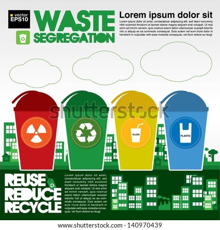 Waste Segregation Illustration Vector.EPS10