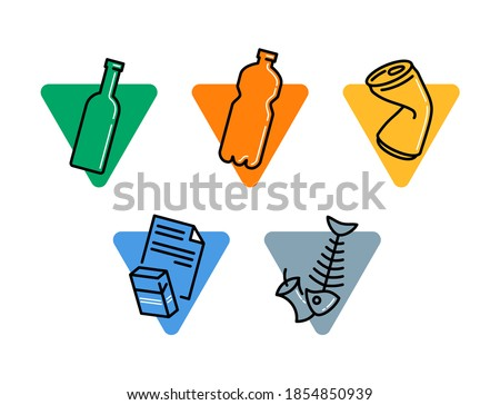 Waste sorting and garbadge  separation pictogram set - dumpster marking stickers - glass, plastic, metal, paper, organic waste - vector collection Сток-фото ©