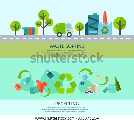 Waste sorting and recycling horizontal banners set with materials and factory flat isolated vector illustration
