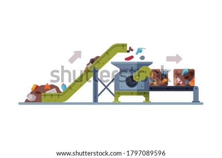Waste Sorting and Separating Plant with Conveyor Line Flat Style Vector Illustration on White Background Сток-фото ©
